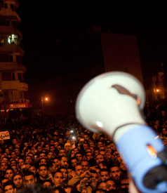 Megaphone in front of a crowd in Cairo